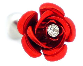 Red Rose with Crystal Cufflinks