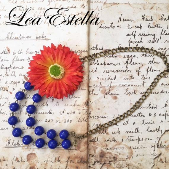 Orange and Blue Necklace, Blue beaded necklace, Orange flower necklace, Boho floral necklace, Cobalt Blue necklace - Orange Pop