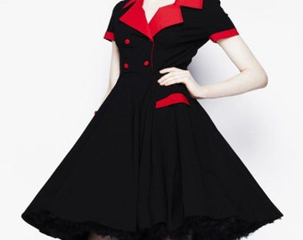 Black and Red Diner Swing Rockabilly Dress Double Breasted