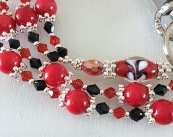 Red Coral  and Black and Red Swarovski crystals and Silver ID Lanyard