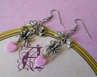 creepy lolita earrings bows and spiders with hearts