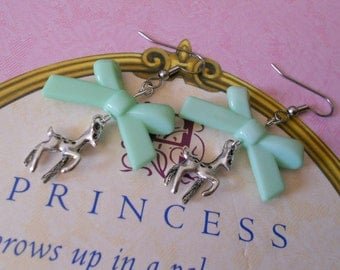 Sweet Lolita deer fawn earrings with colorful bows