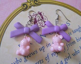 Sweet Lolita bear earrings with purple bows