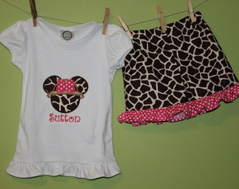 Minnie shirt and ruffle shorts-safari outfit