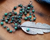 Sterling Silver Feather & Turquoise Stone Necklace- Hand Forged Long, Boho Layering Necklace, For The Outlaw