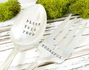 Hand Stamped Serving Spoon and Fork Set. Thankful. Bless This Food. Thanksgiving or Christmas Dinner. Vintage Silverware. 062HOL