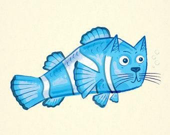 Catfish - Childrens decor - Limited Edition - Animal Art Print - iOTA iLLUSTRATiON