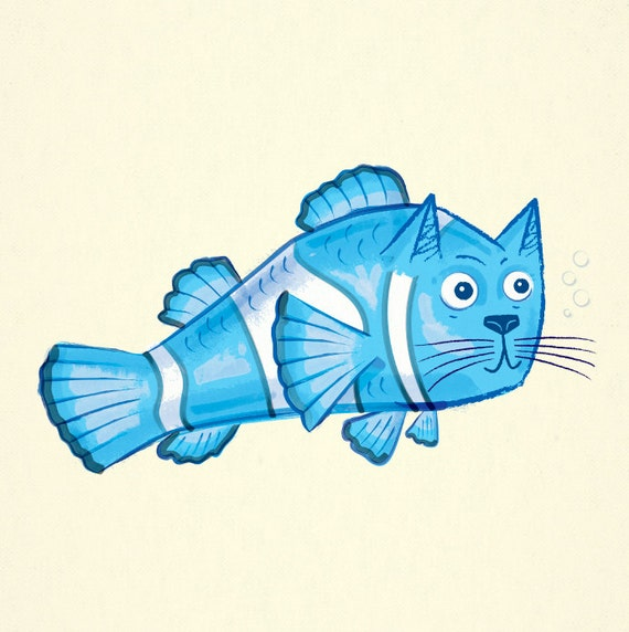 Catfish - Childrens decor - Limited Edition - Animal Art Print - iOTA iLLUSTRATiON