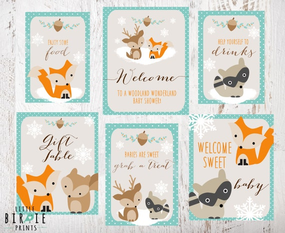 Winter woodland baby shower decorations signs welcome food for Baby shower decoration free