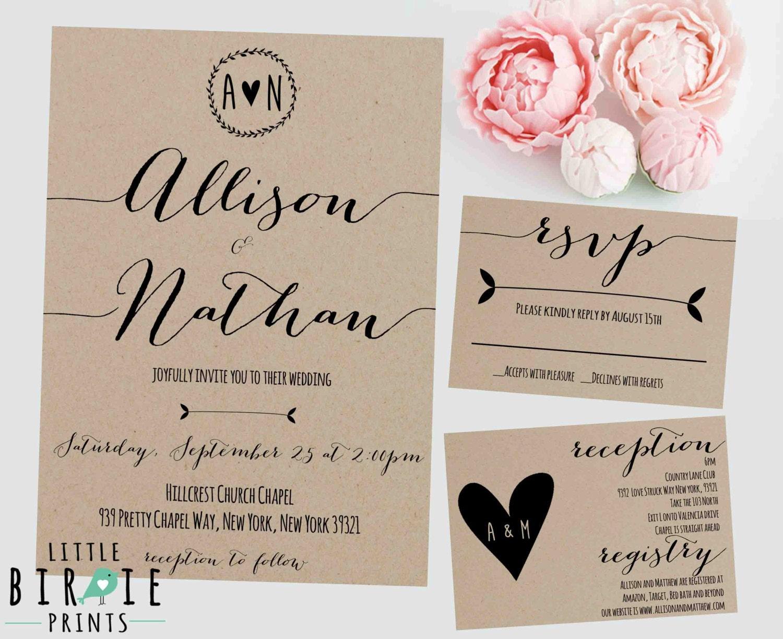 Wedding Invitations Paper: Rustic WEDDING INVITATION Kraft Paper Wedding Invitation