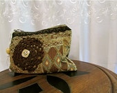 Handheld Clutch Pouch, handmade coin purse, brown earth tone make up bag, bohemian fabric bag, thick textured upholstery chenille fabric