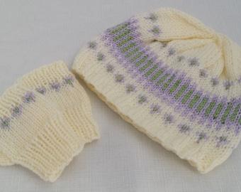 Girls Hand Knitted Fairisle Hat & Fingerless Gloves Set - Handmade - Knit - 12-18 Months