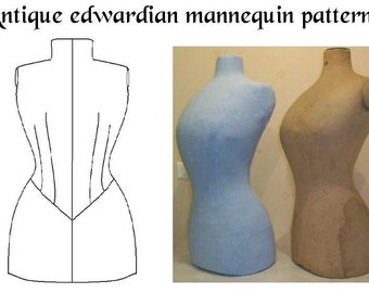 REF EDW  hand drafted pattern from antique Edwardian mannequin for display dummy 24.5 inches waist size