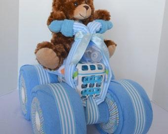 Diaper Cake, 4-Wheeler, Quad, ATV, Motorcycle  Teddy Bear, Baby Gift Cake, Centerpiece, Baby Shower Gift, Baby Bo