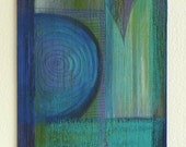 Small blue abstract painting, blue circle fluid lines – original wood wall art