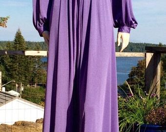 Vintage 70s LAVENDER PURPLE Square Neck Caftan Dress M L XL