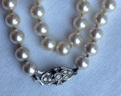 Stunning Art Deco Silver and Faux Pearl Flapper Necklace