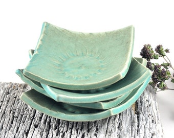 Square Dishes Handmade Pottery Ceramic Tableware Rustic Pastel Aqua Mint Matte Green Condiments Candles Trinkets  - Set of Four
