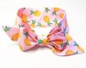 Fabric Bow Headwrap - Pineapples - Infant Headband - Fabric Headband - Baby Headband - Topknot Headband - Toddler Headband Big Bow