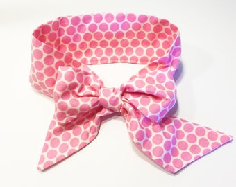 Fabric Bow Headwrap - Pink Polka Dots - Infant Headband - Fabric Headband - Baby Headband - Topknot Headband - Toddler Headband Big Bow