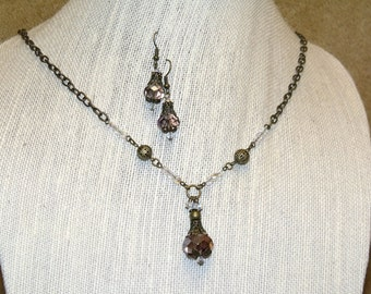Victorian Style Pale Purple and Antique Bronze Necklace and Earrings vintage style boho jewelry