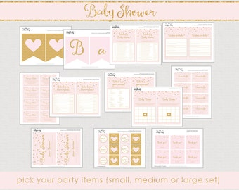 Printable Gold and Pink Baby Shower  Package - party pack- baby girl shower party set- baby girl shower games - baby girl shower // BS-12