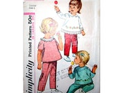Vintage Size 1 Toddler Top and Pants Sewing Pattern Simplicity 6236 Chest 20 inches With Transfer Cut and Ready