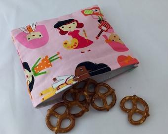 Reusable Snack Bag - Reusable Baggie - Pink Snack Bag - Fabric Snack Bag - Reusable Fabric Snack Bag - Girlfriends at Work in Garden Pink