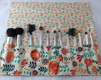 MakeUp Brush Holder - Makeup Brush Roll - Makeup Brush Organizer  - Makeup Brush Case Makeup Brush Bag Gypsy Lane Wildflowers in Cream