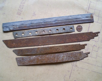 5 Rusty Metal Strips - Salvaged Supplies - Found Objects for Assemblage, Sculpture or Altered Art - Industrial Salvage