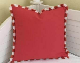 Duralee Bella Dura Coral Indoor Outdoor Designer Pillow Cover with Fringe