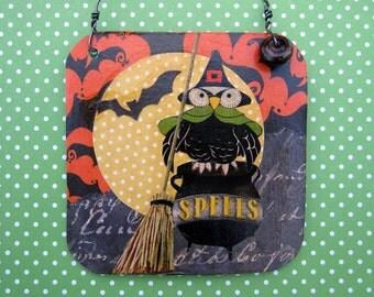 Halloween Witch Owl Decoration, Mixed Media Collage Art, Bats, Moon, broom, OOAK Ornament, Vintage Reproduction Art, cauldron spells, Skull