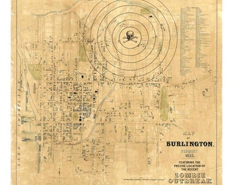 Burlington Vermont, Digital Print, Zombie Map, Vermont Art, Zombies, Sci Fi Art, Vintage Map, Alternate Histories, Geekery
