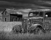 Abandoned Farm House and Rusty Pickup Truck on the Prairie in Black and White with the Decline of the Small Farm No.7 Landscape Photography