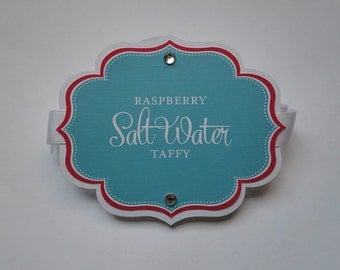 Candy Buffet Labels - Scalloped Labels - Dessert Tags - Wedding Labels - Food Cards - Sweet Shop Labels - Candy Tags - Birthday Labels