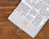 40% OFF SALE iPad Mini 4 Case with Newspaper Pattern Pocket. Padded Cover for iPad Mini 1 2 3 4. iPad Mini Sleeve Bag.