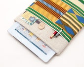 40% OFF Winter SALE White Linen iPad Air 2 Case with African kente style pocket. Padded Cover for iPad Air 1 2. iPad Air Sleeve Bag.