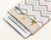 White Linen iPad Case with pink chevron print pocket. Padded Cover for iPad Air 1 2. iPad Air Sleeve Bag.