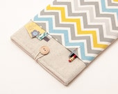 70% OFF SALE White Linen MacBook Air Case with colorful chevron pocket. Case for MacBook 11 Air. Sleeve for MacBook Air 11 inch.