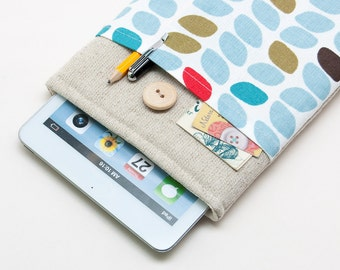 50% OFF SALE Retro leaves iPad Mini Case with button closure. Padded Cover for iPad Mini 1 2 3 4. iPad Mini Sleeve Bag.