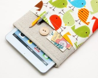 50% OFF SALE Retro birds iPad Mini Case with button closure. Padded Cover for iPad Mini 1 2 3 4. iPad Mini Sleeve Bag.