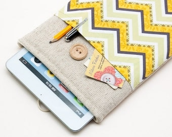 50% OFF SALE Chevron Pattern iPad Mini Case with button closure. Padded Cover for iPad Mini 1 2 3 4. iPad Mini Sleeve Bag.