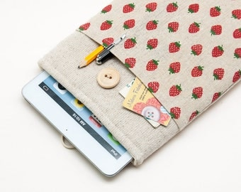 50% OFF Strawberries Pattern iPad Case with button closure. Padded Cover for iPad Mini 1 2 3 4. iPad Mini Sleeve Bag.