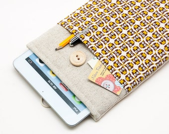 50% OFF SALE Small Owls Pattern iPad Mini 4 Case with button closure. Padded Cover for iPad Mini 1 2 3 4. iPad Mini Sleeve Bag.