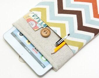 50% OFF SALE Colorful Chevron iPad Case with button closure. Padded Cover for iPad Mini 1 2 3 4. iPad Mini Sleeve Bag.