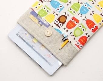 50% OFF SALE Case for iPad Air 2 with Retro Owls pocket and button closure. Padded Cover for iPad Air 1 2. iPad Air Sleeve Bag.