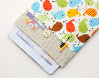 50% OFF SALE iPad Air 2 Case with Retro Birds pocket and button closure. Padded Cover for iPad Air 1 2. iPad Air Sleeve Bag.