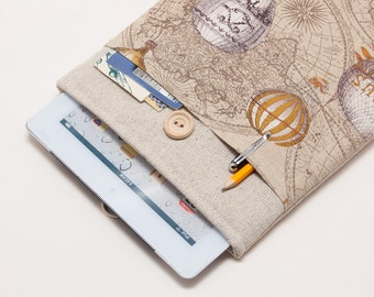 50% OFF SALE White Linen iPad Case with hot air balloons pocket and button closure. Padded Cover for iPad Air 1 2. iPad Air Sleeve