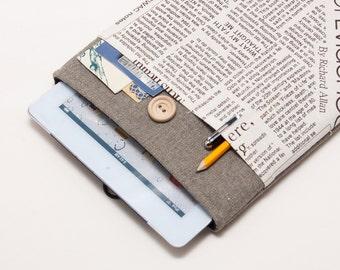 50% OFF SALE Dark Linen iPad Air 2 Case with newspaper print pocket. Padded Cover for iPad Air 1 2. iPad Air Sleeve Bag.