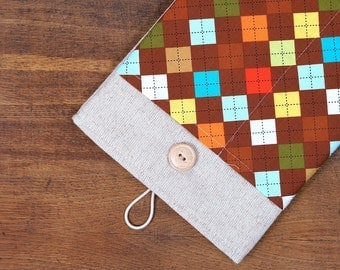 50% OFF SALE White Linen iPad Air Case with colorful squares print pocket. Padded Cover for iPad Air 1 2. iPad Air Sleeve Bag.